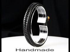 B-090 CUSTOM MADE Kangaroo Leather Hematite NEW Armband Wristband Men Bracelet.