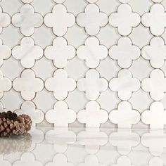 Clover Bianco Glass And Stone Water Jet Mosaic Marble Tiles, Mosaic Tiles, Tiling, Bathroom Floor Tiles, Kitchen Tiles, Bathroom Marble, Basement Kitchen, Devine Design, Peel And Stick Tile