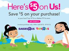 $5 OFF at Toys R Us and Babies R Us Coupon on http://www.icravefreebies.com