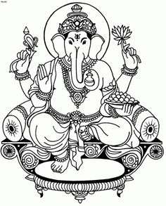 Best Coloring: Ganesha clip art coloring pages - Amazing Coloring sheets - Coloring Pages To Print, Coloring Book Pages, Coloring For Kids, Free Coloring, Coloring Sheets, Ganesha Drawing, Ganesha Painting, Tanjore Painting, Elefante Tattoo