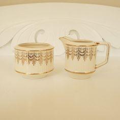 Vintage Sadler Cream Sugar Bowl Gold Decoration Pattern No. 3045