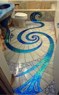 Mosaic floor ~ reminds me of a peacock