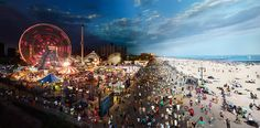 """""""Coney Island,"""" from day to night, ©Stephen Wilkes (USA), Sony World Photography Awards 2012 Photography Beach, Time Lapse Photography, World Photography, Photography Awards, Photography Topics, Commercial Photography, Photography Series, Color Photography, Travel Photography"""
