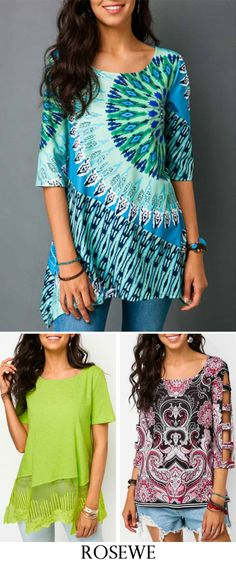 Asymmetric Hem Printed Half Sleeve Blouse.#rosewe#tops#summerfashion