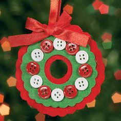 Button Wreath Christmas Ornament Craft Kit - Crafts for Kids & Ornament Crafts Kids Crafts, Preschool Christmas Crafts, Christmas Ornament Crafts, Christmas Activities, Felt Ornaments, Christmas Projects, Holiday Crafts, Kids Ornament, Felt Projects