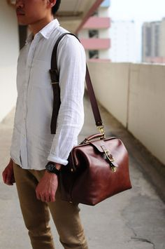 hand stitched brown leather doctor bag by Artemis Leatherware on Etsy