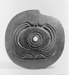 Spindle Whorl (Sulsultin) with a Circular Design Culture: Chemainus, Coast Salish, Native American Medium: Wood Place Made: Chemainus, Vancouver Island, British Columbia, Canada Dates: 19th century Dimensions: Diameter: 8 1/2 in. (21.6 cm)
