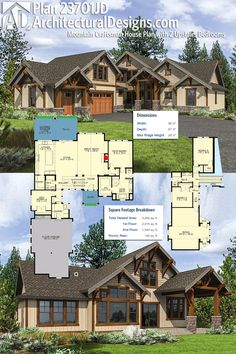 Architectural Designs Mountain Craftsman House Plan 23702JD gives you 2 bedrooms upstairs and the master on the main level (plus a den that could be used as a bedroom). The home gives you over 3,000 sq. ft. of heated living space, including the BONUS over the garage. Ready when you are. Where do YOU want to build?