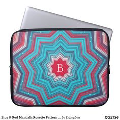 Blue & Red Mandala Rosette Pattern Monogram Laptop Sleeve