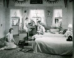 Girls listening to records, 1958.