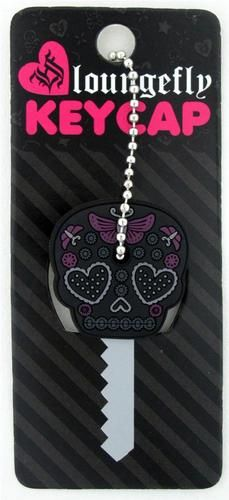Loungefly Black & Purple Sugar Skull Heart Eyes Butterfly Key Cap Cover Vehicle Accessories, Jewelry Accessories, Key Caps, Key Covers, All Things Purple, Sugar Skulls, Future Car, Heart Eyes, Washer Necklace