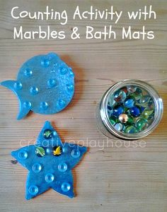 Creative Playhouse: Counting with Marbles and Bath Mats or cheesypoofs! Math Activities For Kids, Counting Activities, Math For Kids, Preschool Classroom, Fun Math, Kindergarten Math, Math Class, Motor Activities, Classroom Ideas