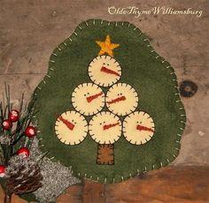 Primitive Christmas Tree Shaped SNOWMAN Wool Felt Penny Rug ~ Winter Candle Mat