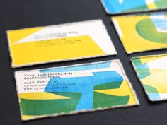 These are the best business cards I've ever seen. This color combo and the deckled cotton paper could work for a wedding invitation suite.
