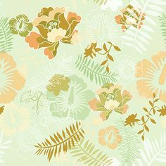 Floral Botanical 5 Mint Peach by chamelledesigns.deviantart.com on @deviantART