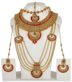 5129 Indian Jewelry Ethnic Bridal Necklace Bollywood Gold Traditional Fashion #MUCHMORE
