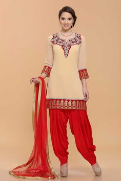 Beige Georgette Salwar Kameez Price:- £65.00 Beige Cotton, ready to wear patiala suit. Neck and daman/hem embroidered with zari, resham, zircon and crystal work.U neck, Above knee length, quarter sleeves kameez.  Red shantoon salwar. Red net dupatta with contrast border with work and latkan.It is perfect for party, wedding, festival, casual and ceremonial wear.  http://www.andaazfashion.co.uk/beige-georgette-salwar-kameez-1652.html