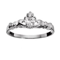 Irish Claddagh baby ring size 2 clear white CZ petite tiny heart cut solitaire sterling silver .925, very cute ladies and girls toes ring $12.79 with free shipping and free ring gift box #babyring  #claddaghring #claddagh #size2ring #babyswag #babybling #ice #sterlingsilverring #bladesandbling #irishlove #irishpride #toering #freegiftbox #freeshipping