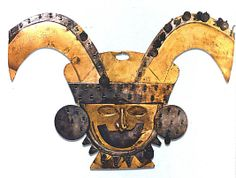 Nose Ornament, Turbaned Head, gold partially silvered, silver. Peru, 2nd-3rd century; Moche