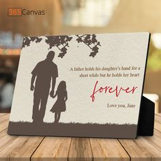 "Thank dad with the ""Father Holding His Daughter's Hand"" silhouette custom desktop plaque. Tell him that although you've grown up, you're still his little girl! #fathersday2021#fathersdaygifts#fatherdaughtergifts#giftsfordad#fromdaughter#dadgifts#fromkids#fatherdaughter"
