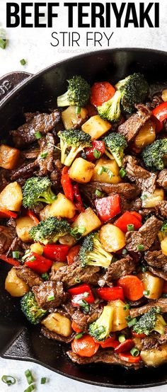 This Beef Teriyaki Recipe boasts buttery tender beef stir fried with sweet pineapple and crisp-tender veggies enveloped in a dynamic sticky, sweet, tangy, teriyaki sauce. #stirfry #beeffoodrecipes #beef #beefrecipes #Japanesefoodrecipes #Japanesefood #dinner #dinnerrecipes #dinnerideas #recipes #easyrecipe #recipes #recipeoftheday #recipeideas #recipeseasy #recipesfordinner #teriyaki #beefteriyaki #teriyakibeef #teriyakisauce Asian Recipes, Beef Recipes, Cooking Recipes, Healthy Recipes, Beef Meals, Chinese Recipes, Unique Recipes, Chinese Food, Delicious Recipes