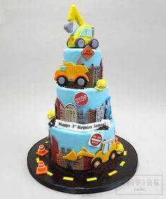 Digger Birthday Cake, Tractor Birthday Cakes, Digger Cake, Baby Birthday Cakes, Baby Boy Cakes, Girl Cakes, Excavator Cake, Architecture Cake, Construction Cookies
