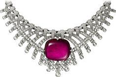 Collar Alta Joyería Platino, rubelita, ónix, diamantes