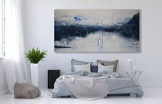 Heavily Textured Large Abstract Painting Blue by MichelleAndreaArt