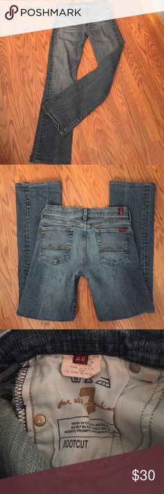 "7 for all mankind jeans 7 for all mankind bootcut jeans, inseam 30"" minor wear on bottom cuff 7 For All Mankind Jeans Boot Cut"