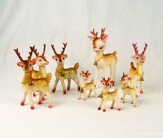 Set of 8 Vintage Reindeer Figurines