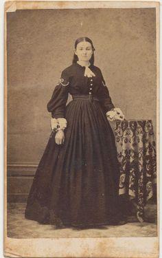 1864 CDV PHOTO STANDING LADY DRESS CIVIL WAR TAX REVENUE STAMP LEWISTOWN, PA 60