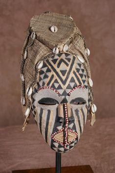 African Kuba Queen Nagadia Mwash Mask Vintage Congo DRC - culturesinternational - 1