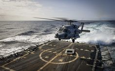 壁紙をダウンロードする シコルスキー社のSH-60Seahawk, MH-60Rで, シーホークヘリコプター, アメリカの多目的ヘリコプター, 軍航空, 米海軍, 着陸した航空機のキャリア