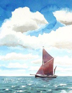 Thames sailing barge – watercolour by Tony Hatt