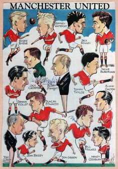 Rare c 1953 Manchester United book plate featuring caricatures of the 'Busby Babes' Man Utd team (inc: Duncan Edwards, Dennis Viollet, Tommy Taylor & Jackie Blanchflower) a few years before the Munich Air Disaster. Signed by Bill Foulkes & Jack Crompton. Manchester United Poster, Manchester United Wallpaper, Manchester United Players, Visit Manchester, Football Art, School Football, Munich Air Disaster, Duncan Edwards, Man Utd Fc
