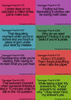 Haha! School/math teenager posts.