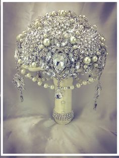 Ivory Silver Pearl Gatsby Brooch Bouquet. by NatalieKlestov