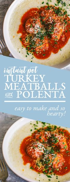 These are the tastiest Instant Pot turkey meatballs with polenta you'll ever try! In the Instant Pot it's ready in just under 30 minutes. Meatball Recipes, Turkey Recipes, Dinner Recipes, Best Instant Pot Recipe, Turkey Meatballs, Pressure Cooker Recipes, Healthy Recipes, Fast Recipes, Delicious Recipes