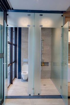 While I like the frosted glass, not so sure about the toilet being next to full length windows! Contemporary House Sar in Johannesburg, the latest contemporary residence from Nico van der Meulen Architects Bathroom Spa, Bathroom Toilets, Bathroom Layout, Bathroom Interior Design, Modern Bathroom, Small Bathroom, Bathroom Closet, Bathroom Doors, Bad Inspiration