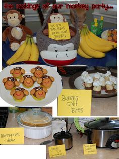 "our Monkey birthday party! complete with ""Monkey-roni & cheese"", ""Jungle dip"" (spin dip), banana split bites, monkey face cupcakes, frozen chocolate covered banana pops and lots of bananas & monkeys!"
