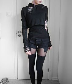 nineeyedoracle: Wow, I've never seen this crop in any photos outside of the place I bought it from. This is my FAVORITE crop. It's what I'm wearing in my profile picture on here. :) I have those thigh highs, too. (; Diggin' the shorts, though. Mad wanting those.