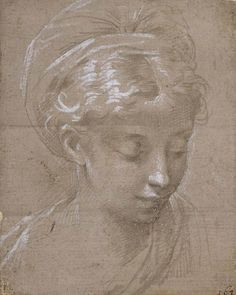 Parmigianino | Head of a Young Woman | Metalpoint on Pink-Gray Grounded Paper, Heightened with White | 113 x 90 mm. | Fitzwilliam Museum | Cambridge