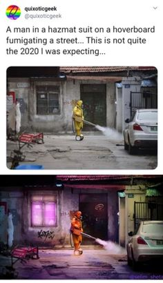 A man ina hazmat suit on a hoverboard fumigating a street. This is not quite the 2020 I was expecting. Stupid Funny Memes, Funny Relatable Memes, The Funny, Hilarious, Relatable Posts, Hazmat Suit, A Silent Voice, Looks Cool, Tumblr Funny