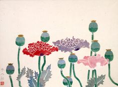 """Poppies"" by Heihachiro Fukuda  福田平八郎 《芥子花》"