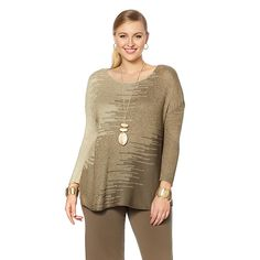 MarlaWynne Jacquard Pullover Sweater - Luggage Combo