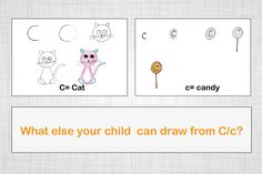 Draw Cat and candy from alphabet C