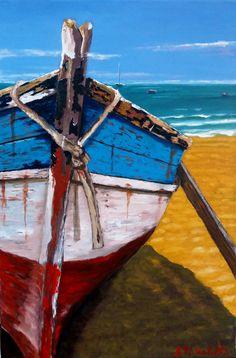 """Ana María Valdés bote en la playa óleo sobre tela de 40x60 cms. ORIGINAL.... (este bote ha sido muy pintado por alumnas y otras personas, pero mientras lo hagan a partir de la """"foto"""" , es original y no réplica de otro cuadro) Interesante apreciar las distintas ejecuciones del mismo tema."""