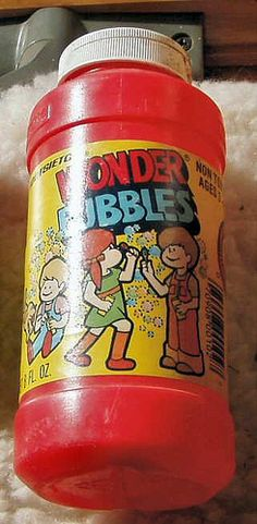 oh yes, wonder bubbles. Who didn't have this exact one? As a matter of fact, have the bottle graphics changed any??