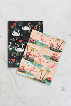Rifle Paper Co - Notebook - Set of 2 - Plain - Large (11x15cm) - Soft Cover - Birds of a Feather