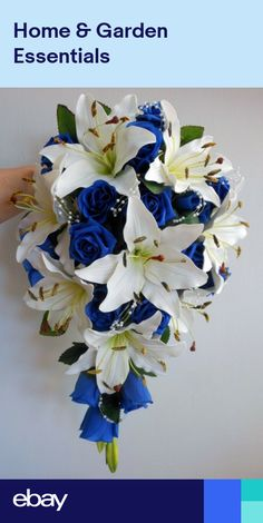 Teardrop Wedding Bouquet, Ivory lillies, Royal Blue Roses & pearl sprays in Home, Furniture & DIY Wedding Bride, Diy Wedding, Dream Wedding, Wedding Ideas, Trendy Wedding, Wedding Pictures, Wedding Details, Wedding Colors, Wedding Flowers
